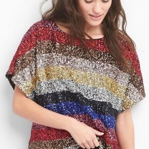 NWT Gap crazy stripe sequined tee.